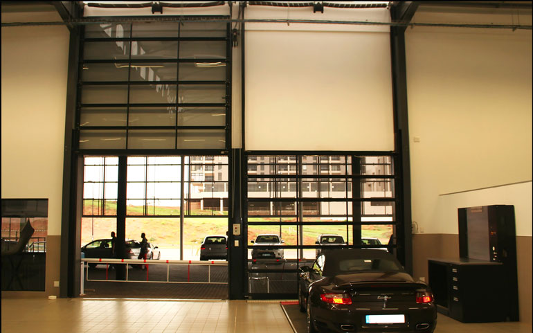 Porsche-dealership-Sectional-Garage-Doors