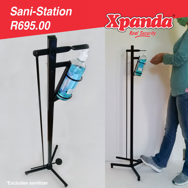 Foot operated manual sanitizer dispenser stand.