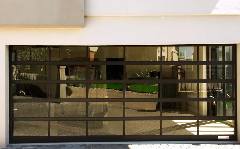 Panoramic Bronze Tinted Glass Garage Door